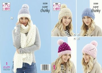 King Cole Pattern 5530 , Ladies Hats and Scarf in Super Chunky yarn
